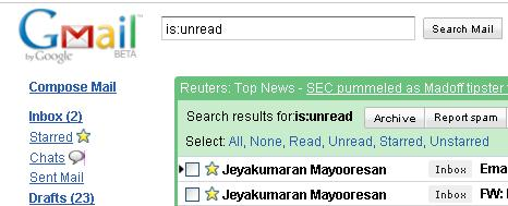 Unread mails are listed after the search