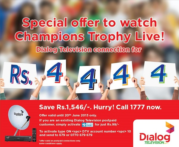 Dialog TV offer for the ICC Cricket Tournament