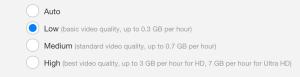Netflix's data consumption settings